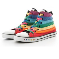 Fashion Colorful Stripe Print Canvas Sneakers - OASAP.com