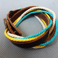 Real Leather and Multicolour Cotton Rope by jewelrybraceletcuff