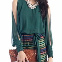 two-fer chiffon tribal print dress $43.20 in GREEN - Dressy | GoJane.com