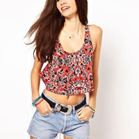 ASOS Racer Crop Vest in Summer Floral at asos.com