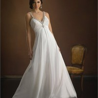 Deep V-neck Hollow Back Empire Waist Chiffon Small Train Wedding Dress WD1696