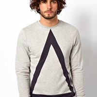 ASOS Sweatshirt With Bold Triangle Cut And Sew Detail at asos.com