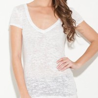 G by GUESS Caley V-Neck Burnout Tee:Amazon:Clothing