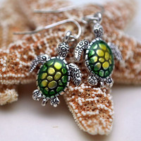 Sea Turtle Earrings in Silver and Green
