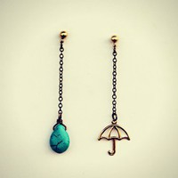 umbrella and turquoise raindrop earrings