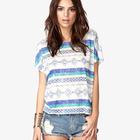Tribal Print Burnout Tee | FOREVER 21 - 2048656423
