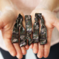 camouflage hair tie ponytail holders - set of five - stretchy no dent no damage fold over elastic ribbon knotted ties