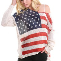 Beige Woven American Flag Sweater and Shop Tops at MakeMeChic.com