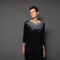 Spring Eco Fashion - Pure Black Eco Fleece Sweatshirt,  Modern Feather Print, Pullover Sweatshirt