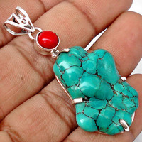 29.89cts BLUE TURQUOISE FANCY CORAL 925 STERLING SILVER PENDANT JEWELRY D9804