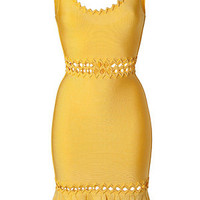 Hervé Léger - Radiant Sun Zigzag Trim Bandage Dress