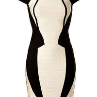 Hervé Léger - Black/White Colorblock Bandage Dress