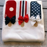 Fourth of July Popsicles with Bows. Baby Girl Shirt or Onesuit. Red, White, Blue Patriotic Kids Clothes. July Fourth, Summer. Personalized.