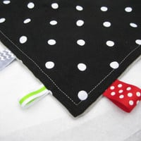 Baby Taggie Blanket, Black & White Polka Dot Taggie Blanket with Grey Minky, Ribbons, Lovey Blanket - Gender Neutral Blanket