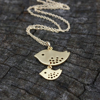 Gold Bird Necklace - Mama Bird Baby Bird Jewelry . One Child, Newborn . Baby Shower Gift . Two Tone Bird Necklace . New Mom . Mom to Be