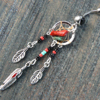 red coral and turquoise dreamcatcher belly ring turquoise BLACK in native american tribal boho hippie belly dancer and hipster style