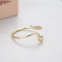 Adjustable Snake Ring - Gold // R0031-GD // Gold ring,Adjustable ring,Novelty ring,Antique Engagement,Eco friendly ,Gift ring