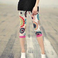 Spliced Bohemian Candy Color Sunfowers Elastic Capri/Legging