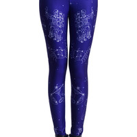 ROMWE | Constellation Print Blue Leggings(Arrival on May.13th), The Latest Street Fashion