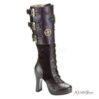 Crypto Steampunk Knee Boot PL-CRYPTO-302 by Demonia by Pleaser USA
