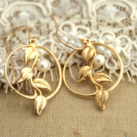 Gold and Pearls leaf earrings- 14k Gold filled with Vermeil and freshwater pearls.