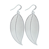 Filigree earrings-Leaf silver - 