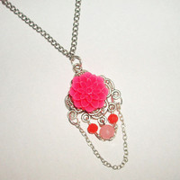 BUY 1 choose 1 FREE..Lovely pink flower red crystal unique antique vintage look necklace