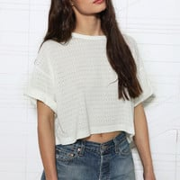 Sparkle &amp; Fade Roll Sleeve Eyelet Tee at Urban Outfitters