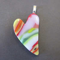 Glass Heart, Couples Pendant, Love Pendant, Couples Jewelry,  Fused Glass Jewelry - Dreaming of You - 2360 -2