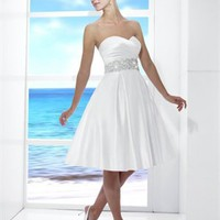 Sweetheart Neckline Beaded Waistline Backless Hits At The Knee A-line Wedding Dress WD1570