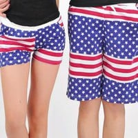 2 Pcs Stars and Stripes Couple Shorts