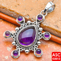 AMETHYST 925 STERLING SILVER PENDANT 2 1/4&quot; JEWELRY