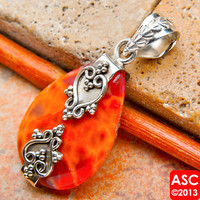 "FIRE CRAB AGATE 925 STERLING SILVER PENDANT 1 1/2"" JEWELRY"