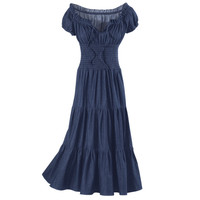 Denim Peasant Dress                                - New Age, Spiritual Gifts, Yoga, Wicca, Gothic, Reiki, Celtic, Crystal, Tarot at Pyramid Collection