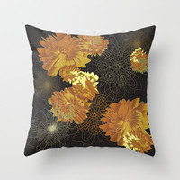Florabundas Gold Throw Pillow by Nina May 