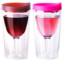 Vino2Go Set of 2 Double Wall Insulated Acrylic Wine Tumblers: with Merlot &amp; Pink Slide Tops Open/Close Drink Through Lid 10 oz.