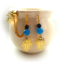 Hamsa Hand Ear Cuff With Blue Jade Beads Plus Extra Earring For The Other Ear ( A53 )