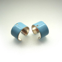 Glossy Baby Blue Powder Coated Ear Cuffs - 4 pcs - A97