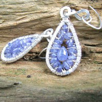 Tanzanite Tear Drop Earrings, Sterling Silver Artisan