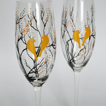 Hand Painted Wedding Toasting Flutes Set From Pastinshs On Etsy