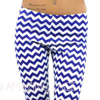 Waves Of Thunder Blue Chevron Navy Leggings
