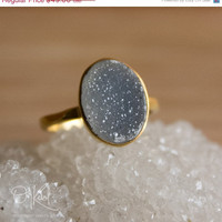 CLEARANCE SALE Gold Dark Grey Druzy Ring - Oval Stone Ring - Size 6.5 Ring