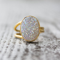 Gold White Titanium Druzy Ring - Oval Adjustable Ring - Statement Ring