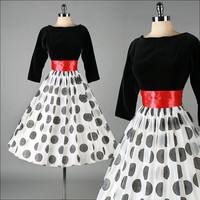 Vintage 1950s Dress . Flocked Optical Circles . Red Sash . 3004