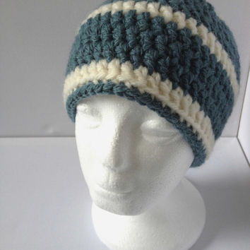 Green Beanie Hat, Mens Green Hat, Green and Cream Crochet Hat, Super Thick Green Hat, Alpaca and Wool Blend Hat