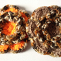 Crochet Flower Brooch, Orange Brown with Leopard Print Trim, Crochet Flower Brooch, Knit Yarn Flower, Large Flower Brooch