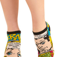 Toe of a Kind Socks in Comic | Mod Retro Vintage Socks | ModCloth.com