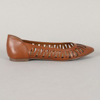Breckelle Dia-01 Cut Out Pointy Toe Ballet Flat