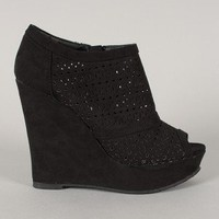 Wild Diva Lounge Medla-11 Perforated Platform Wedge Bootie