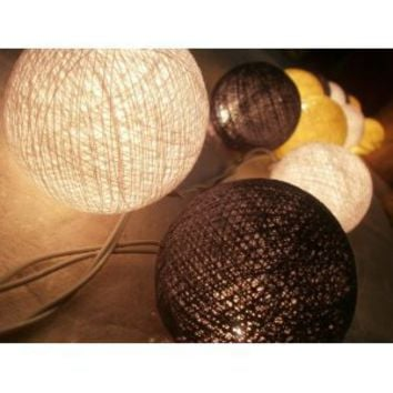 I Love Handicraft Ivory Color Tone Cotton Ball String Lights Patio Wedding and Party Decoration (20 Balls/set)